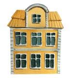 Stort gammalt europeiskt hus Vattenf?rgillustration f?r design stock illustrationer