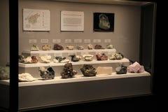 Stort glass fall med rader av mineraler som finnas i New York, statligt museum, 2016 arkivfoto