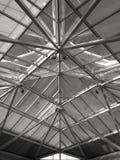 Stort glass tak av en byggnad i svartvitt Royaltyfri Fotografi