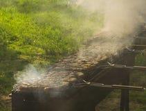Stort grillfestparti - läcker mat på gallret i tjock rök Royaltyfri Bild