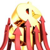 Stort guld- dollarsymbol med många rött växa upp pilar Arkivfoton