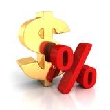 Stort guld- dollarsymbol och rött procenttecken på vit med refl royaltyfri illustrationer