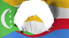 Stort hål i den Comoros flaggan royaltyfri illustrationer