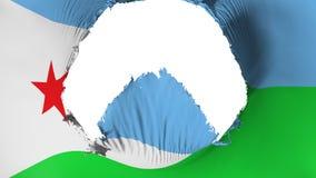 Stort hål i den Djibouti flaggan royaltyfri illustrationer