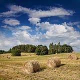 Stort hö rullar på ett härligt fält Arkivfoto
