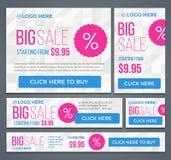 Stort halvt pris och baner för dag försäljning vektor Arkivfoton