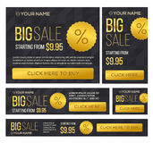 Stort halvt pris och baner för dag försäljning vektor Royaltyfri Bild