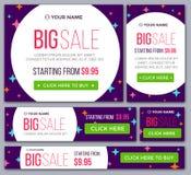 Stort halvt pris och baner för dag försäljning vektor Arkivbild