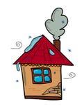 Stort hus med en lampglas och ett fönster stock illustrationer