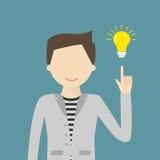 Stort idébegrepp med mannen och lightbulben royaltyfri illustrationer