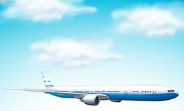 Stort kommersiellt flygplan i himmel royaltyfri illustrationer