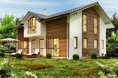 Stort landshus med terrassen royaltyfri fotografi