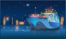 Stort lastfartyg på natten Royaltyfri Foto