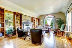 Stort lyxigt vardagsrum med spis. royaltyfria bilder