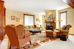 Stort lyxigt vardagsrum med spis royaltyfri fotografi