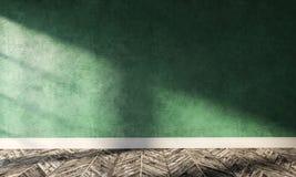 Stort modernt rum med den gröna murbrukväggen och solljus royaltyfri foto