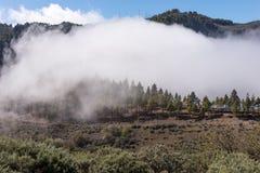 Stort moln i bergen av Gran Canaria Royaltyfria Bilder