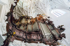 Stort organ av Oliwa Archcathedral i Gdansk Arkivbild