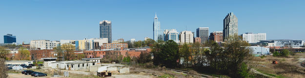 Panorama- beskåda på i stadens centrum Raleigh, NC Royaltyfri Foto