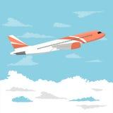 Stort passagerareflygplan som flyger över molnig himmel vektor illustrationer