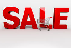 Stort rött 3d ord Sale med shoppingvagnen på vit bakgrund Royaltyfri Foto