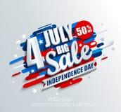 Stort Sale baner för självständighetsdagen royaltyfri illustrationer