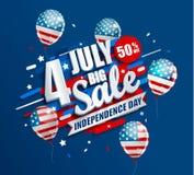 Stort Sale baner med ballonger för självständighetsdagen stock illustrationer