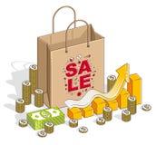 Stort Sale begrepp, detaljhandel, utförsäljning, shoppingpåse med kontanta pengar vektor illustrationer