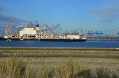 Stort skepp med kranar i porten av Rotterdam, Nederländerna Arkivfoton