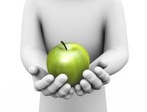 stort skinande grönt äpple för hand 3d i händer Royaltyfri Fotografi