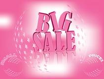 Rosa stort Salebaner för affär stock illustrationer