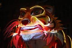 Stort tigerhuvud under Fetedes-lumieres Arkivfoto