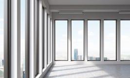 Stort tomt kontor med panorama- fönster stock illustrationer