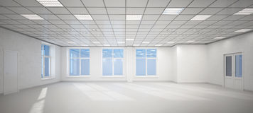 stort tomt vitt kontor 3D stock illustrationer