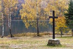 Stort träkors på sjön i höst royaltyfri foto
