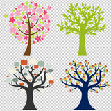 Stort uppsättningträd stock illustrationer