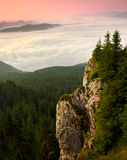 Stort vagga upplyst på solnedgångsoluppgång med den Carpathian moen Arkivfoton