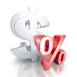 stort valutasymbol för dollar 3d och rött procenttecken Finanshastighet Royaltyfria Bilder