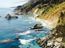 Stort vatten för natur för sol för surKalifornien kust Royaltyfri Fotografi