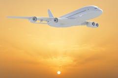 Stort vitt flygplan Royaltyfri Fotografi