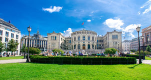 The Storting is the supreme legislature of Norway. OSLO - AUGUST 13: The Storting is the supreme legislature of Norway, located in Oslo as pictured on August 13 royalty free stock photo