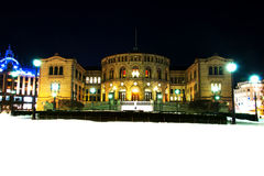 Stortinget at night Royalty Free Stock Photography