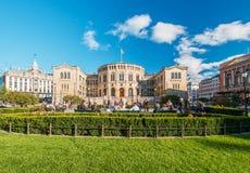 Stortinget norwegische Parlamentsfassade Oslo Stockbild