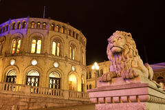 Stortinget Parliament building at Oslo Norway stock photos