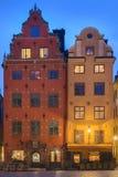 Stortorget在晚上 免版税库存照片