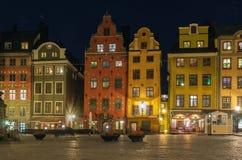 Stortorget am Abend, Stockholm Stockbilder