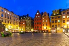 Stortorget in der alten Stadt von Stockholm, Schweden lizenzfreies stockbild