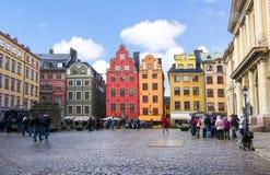 Stortorget fyrkant i den gamla staden Gamla Stan, Stockholm mitt, Sverige royaltyfria bilder