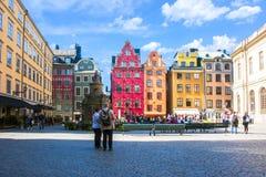 Stortorget fyrkant i Stockholm den gamla stadmitten, Sverige arkivbild