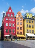 Stortorget fyrkant i Stockholm den gamla stadmitten, Sverige royaltyfria bilder
